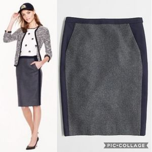 J. Crew Tipped Wool Gray & Navy Pencil Skirt